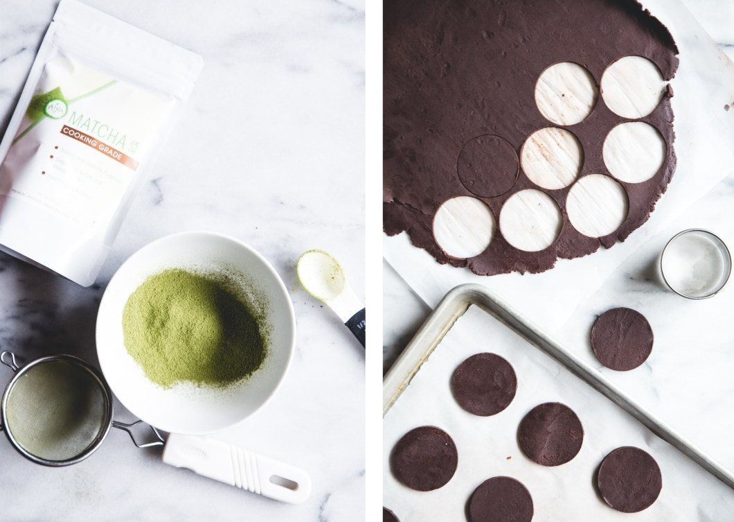 Matcha-Dipped Dark Chocolate Wafer Cookies // butterlust.com