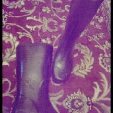 Black faux leather rain boots 2