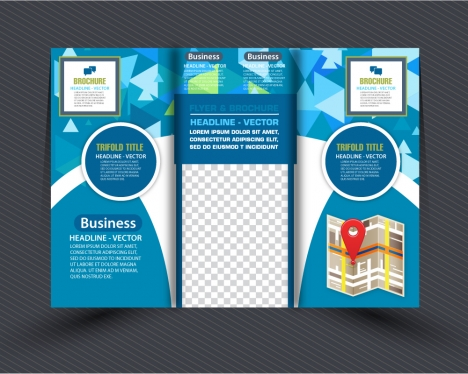 Brochure design vector with modern trifold illustration vectors     business brochure design with modern abstract trifold style