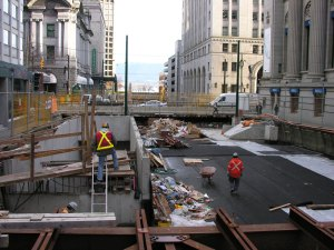 The construction site at street level.