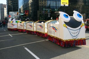 The Canada Line float from last year's Rogers Santa Claus Parade. This year, there will be a Canada Line float and a TransLink bus in the parade!
