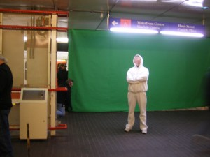 A green screen was eventually used to put the polar bear in Waterfront Station.