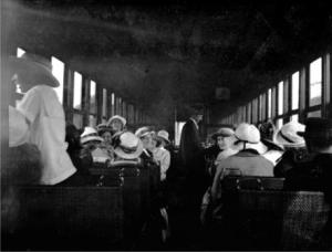 The interior of a Central Park Interurban tram in 1910, with mostly women passengers on board. Item 001-013 from the Burnaby Historical Society Community Archives Collection, courtesy of the <a href=http://www.heritageburnaby.com>City of Burnaby Archives</a>.