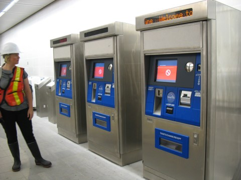 Ticket vending machines at Canada Line's Waterfront Station.