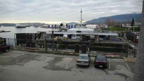 The Burrard Pacific Breeze in the maintenance dock in North Vancouver, waiting to start service at 10 a.m..