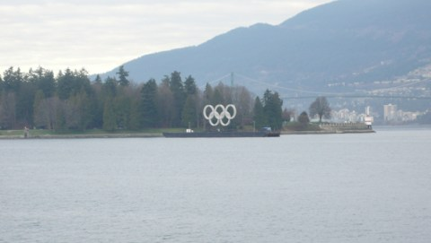 Olympic rings in Burrard Inlet.