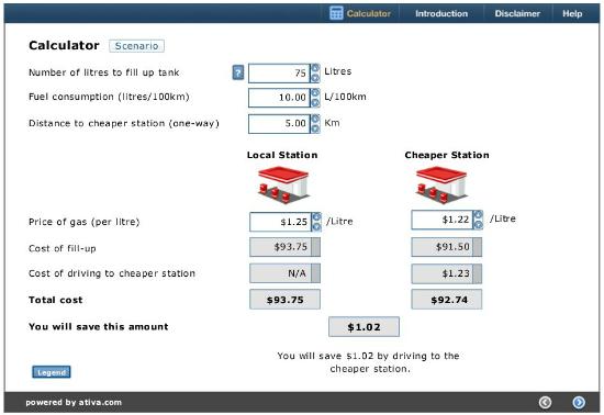 Calculating gas cost savings