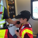 Trevor making an announcement on the SkyTrain in the yard!