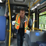 Rob explaining do's and don'ts while interacting with service dogs on transit
