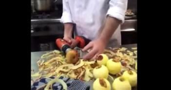 りんごの皮を一瞬でむく方法