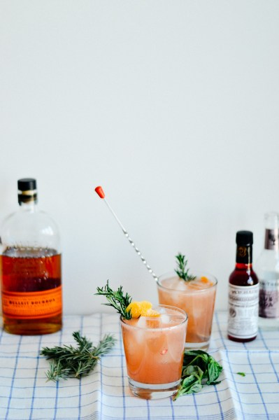 Cocktail recipe: Grapefruit bourbon cocktail with basil syrup // by gabriella