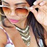 Recebidos Zaful: Macaquinho floral sexy com óculos Dourado