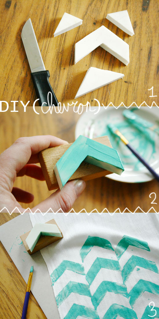 diy - chevron stamped scarf