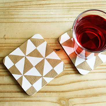 diy - leather triangle coasters small