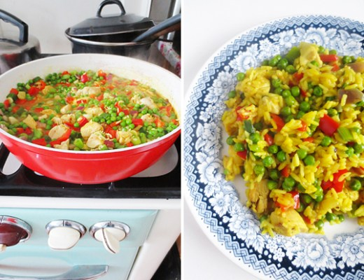 Recipe: pandan rice with chicken, peas and paprika