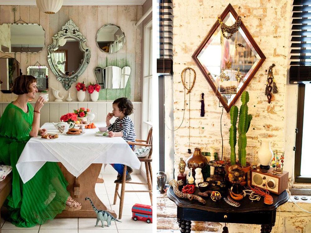 Bohemian thrift store mirrors