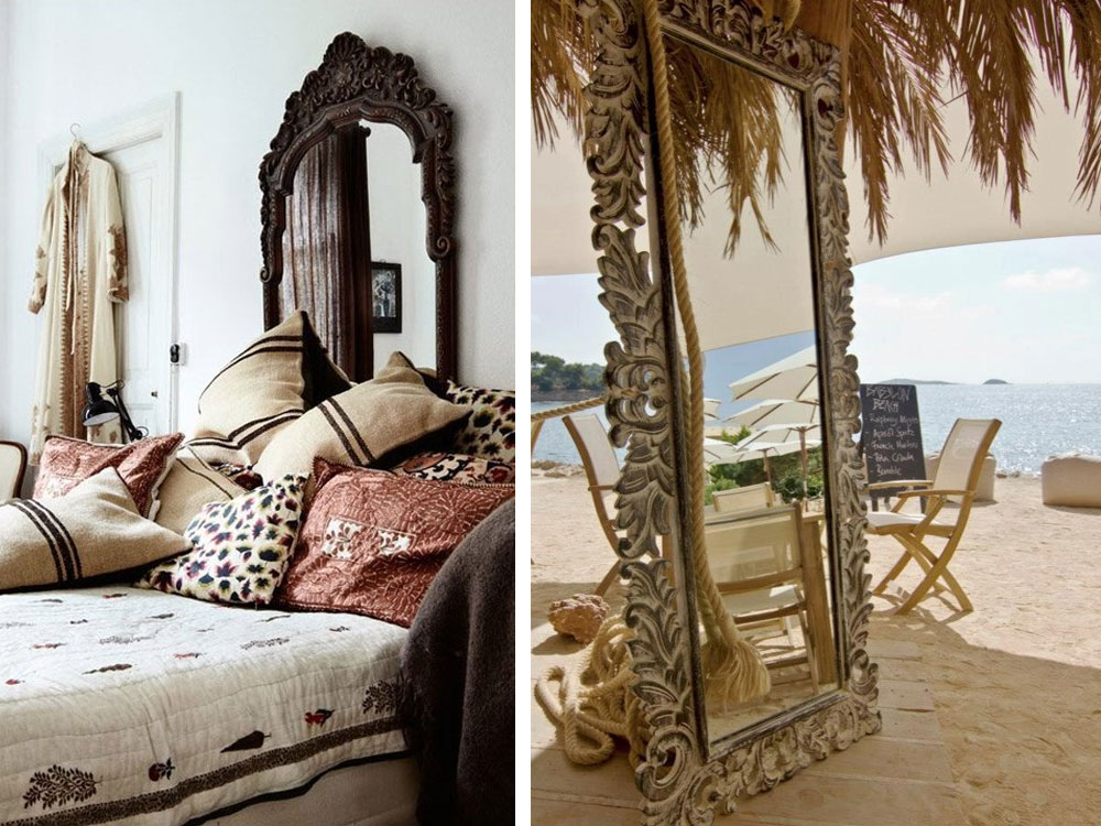 wood carved bohemian mirrors