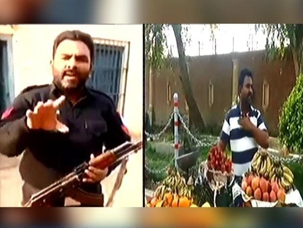 دین محمد نے پیٹ کی آگ بجھانے کیلئےڈی پی او آفس بہاولپور کےسامنے پھلوں کی ریڑھی لگالی ۔ اسکرین گریب : ایکسپریس نیوز