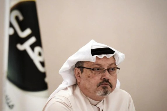 (FILES) In this file photo taken on December 15, 2014, general manager of Alarab TV, Jamal Khashoggi, looks on during a press conference in the Bahraini capital Manama. -