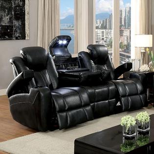 Furniture Of America Contemporary Power Reclining Sofa Loveseat Recliner  Storage Armrest Cup Holders Leatherette Dark Gray USB Reading Light Couch Recliner With Cup Holder And Storage71