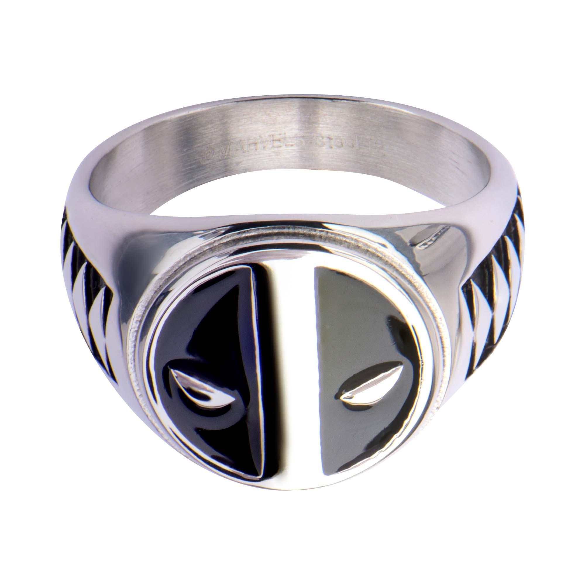 koz1 Stores 20 deadpool wedding ring Disney Deadpool Logo Ring Men s Size 11 stainless steel