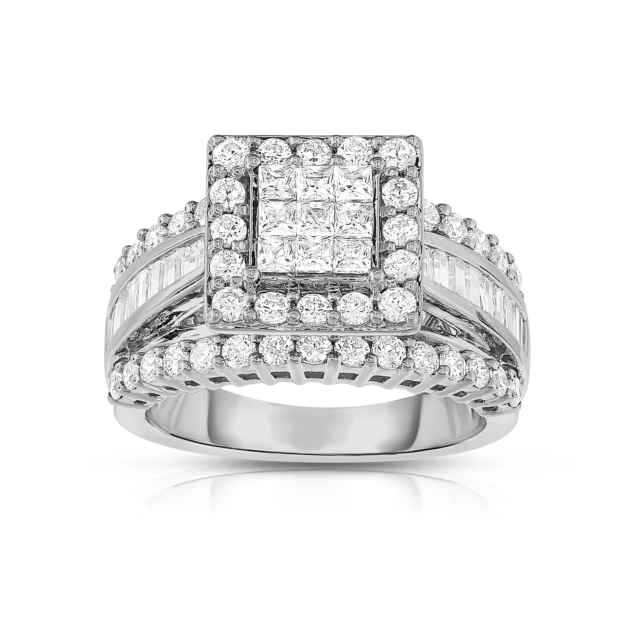 b square diamond wedding rings Square Cut 14K White Gold Diamond Engagement Ring