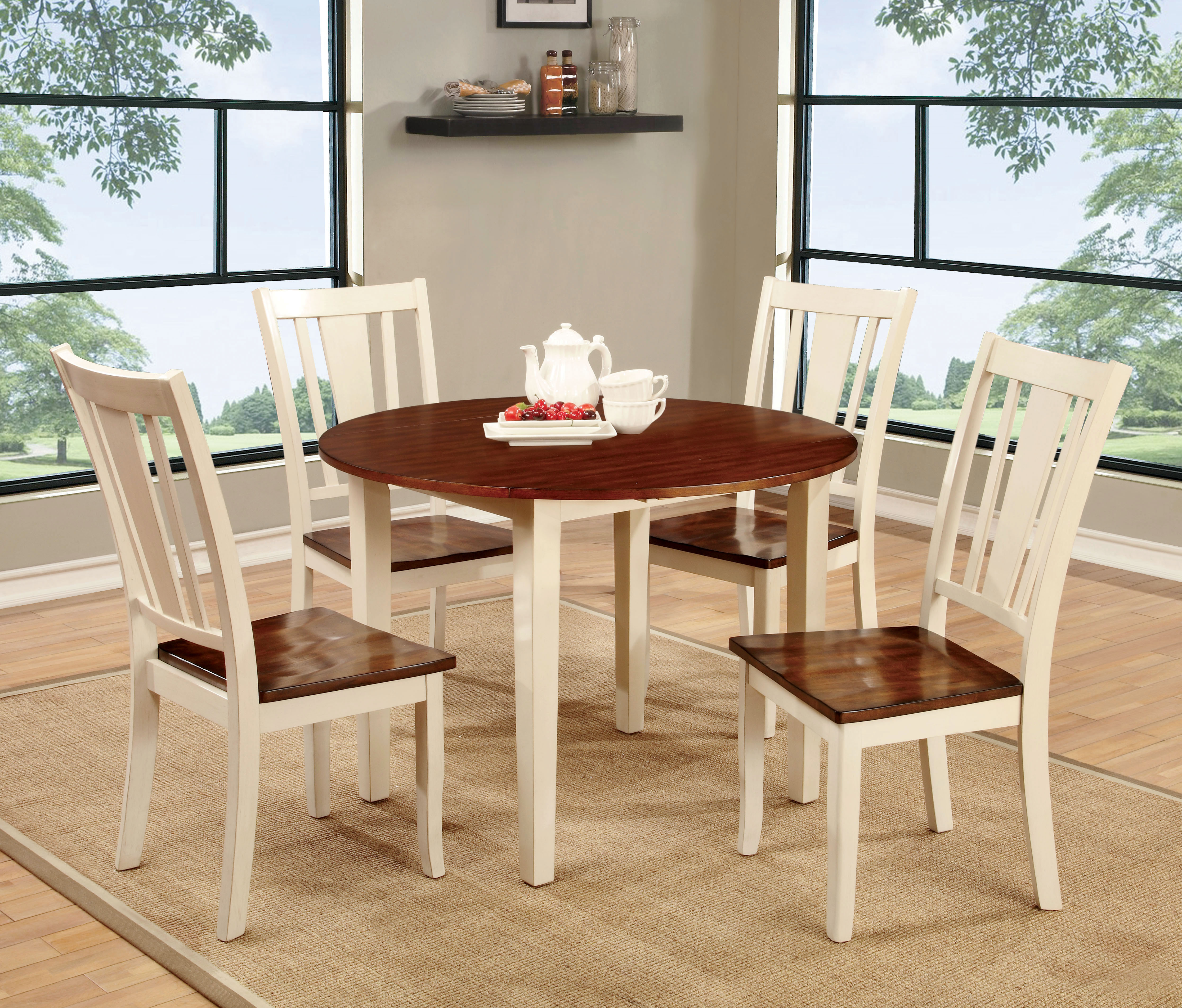 p P two tone kitchen table Furniture of America Two Tone Carmen Round Dining Table Home Furniture Dining Kitchen Furniture Dining Tables