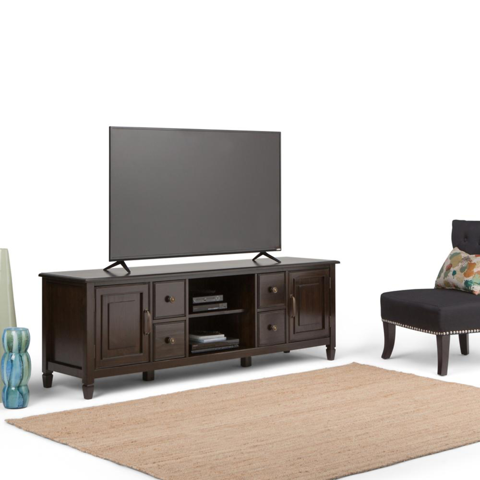 WyndenHall Hampshire 72inch TV Media Stand For Up To 80inch TVu0027s Dark Tv Stand 80 Inches Wide58
