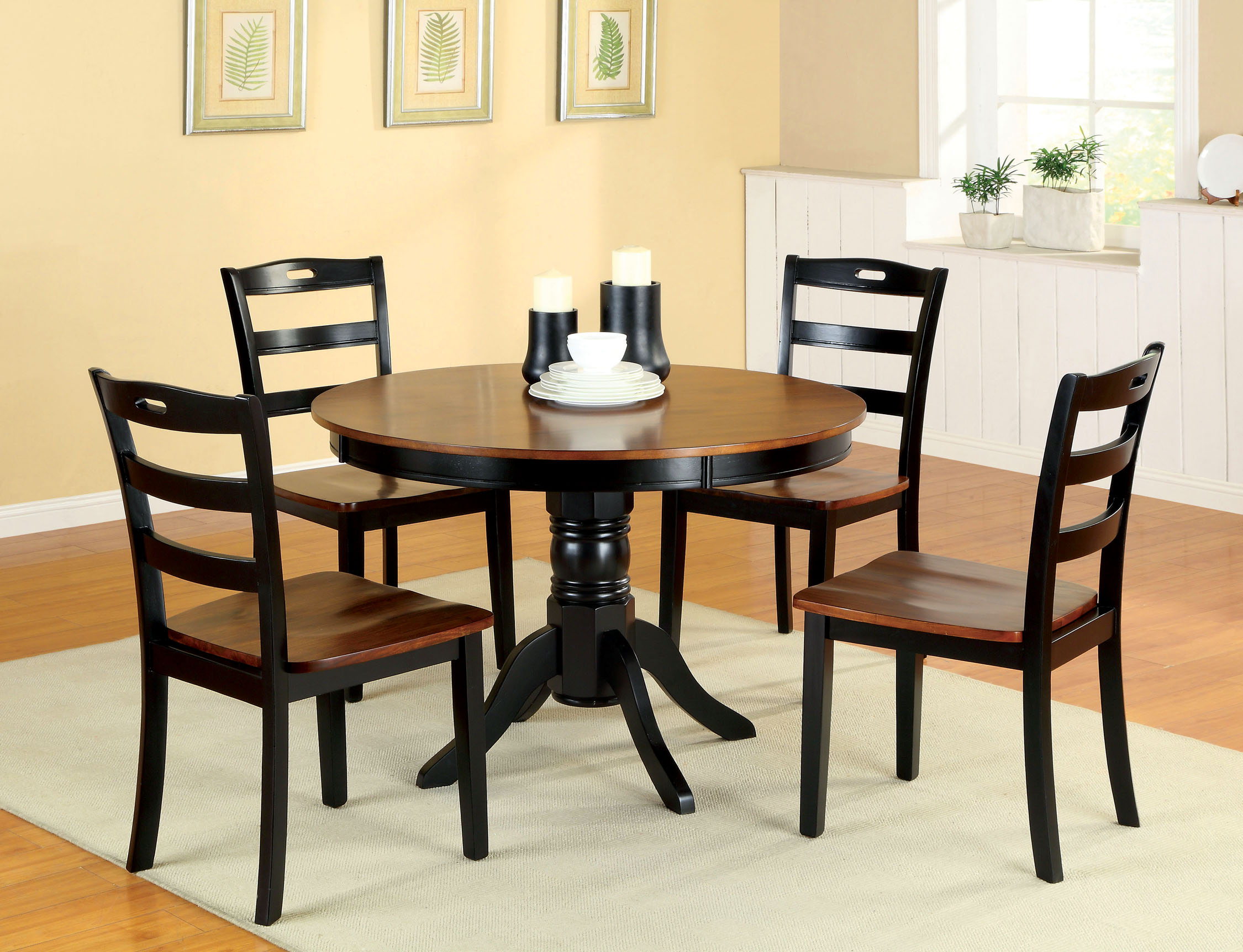 p P two tone kitchen table Furniture of America Harthas 5 Piece Two Tone Round Dining Set Home Furniture Dining Kitchen Furniture Dining Sets Collections