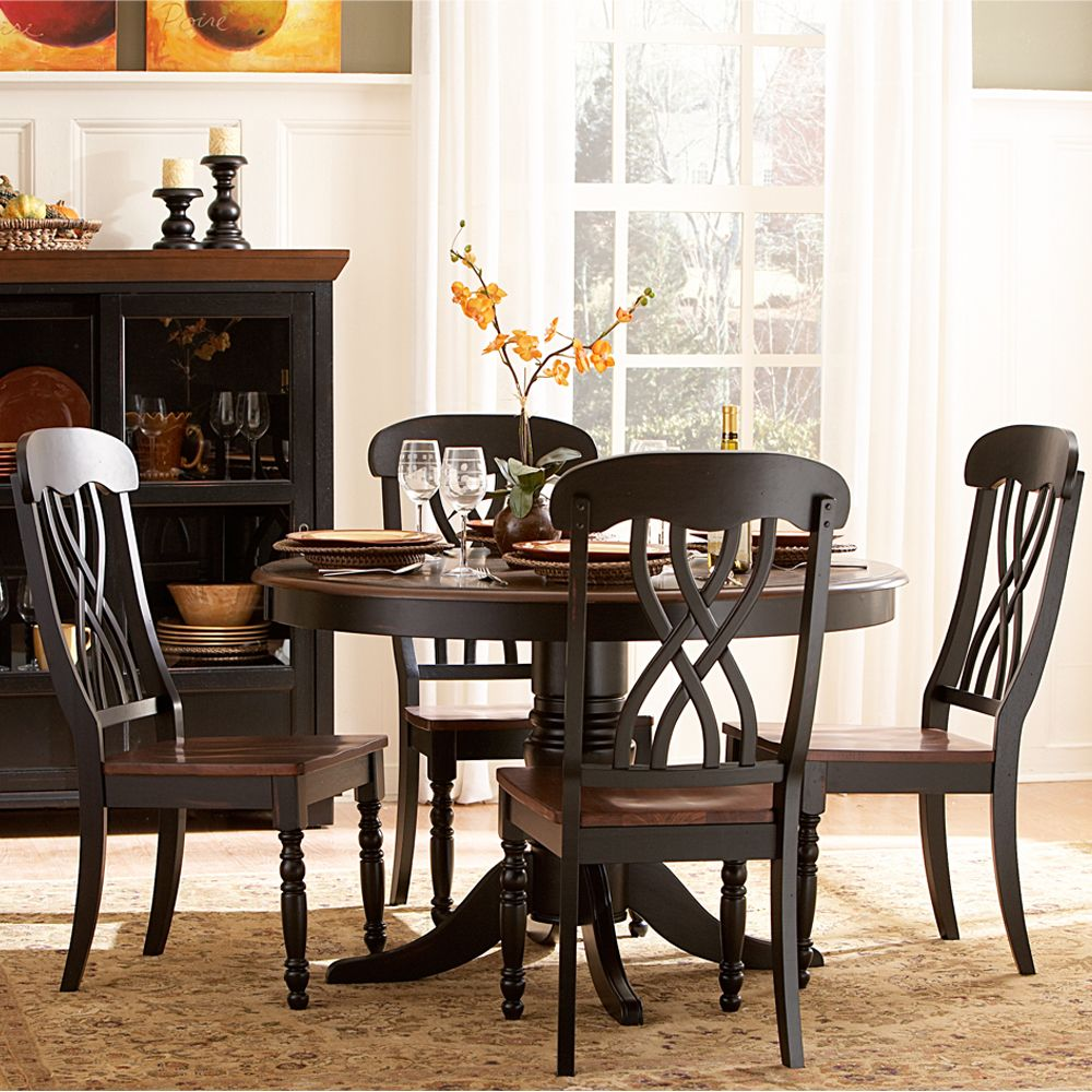 p P round kitchen table set Oxford Creek 5 Piece Casual Country Antique Black Round Dining Table Set Home Furniture Dining Kitchen Furniture Dining Sets Collections