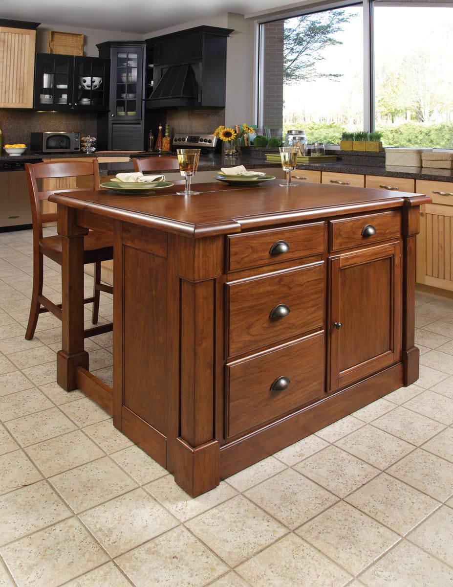 Home Styles Aspen Kitchen Island & Two Stools
