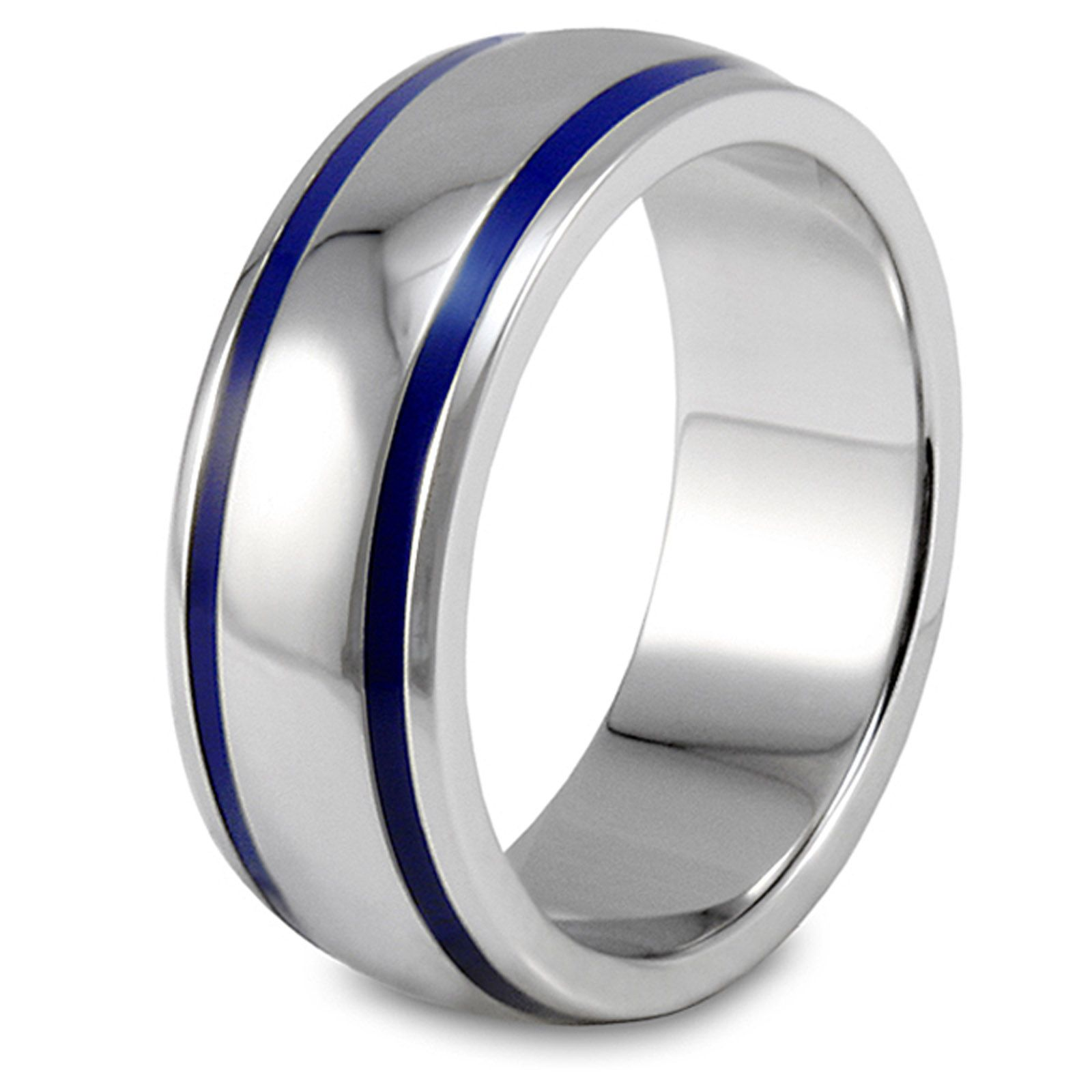 p P stainless steel wedding band West Coast Jewelry Men s Stainless Steel Blue Enamel Groove Domed Ring Jewelry Rings