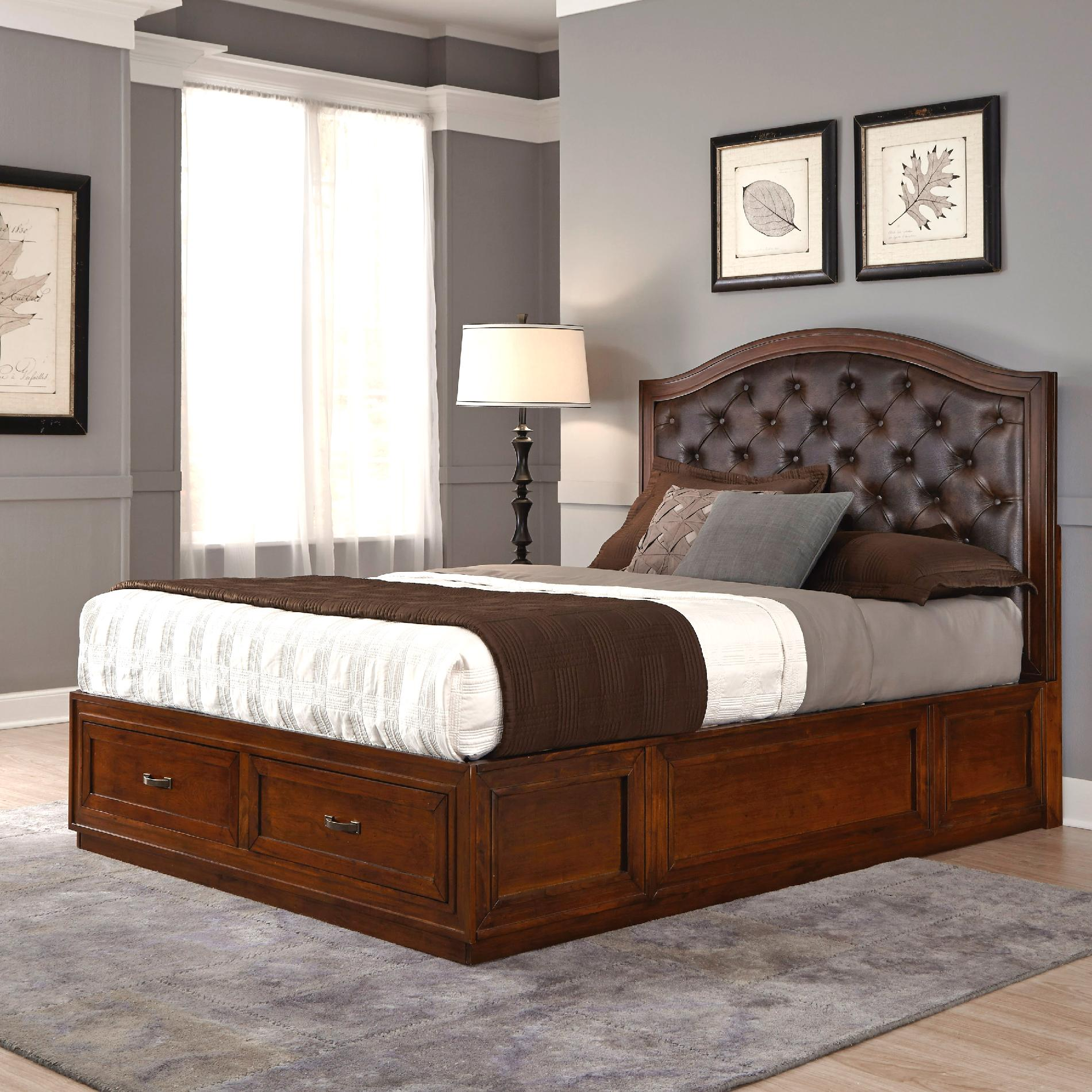 Home Styles Duet King Tufted Diamond Camelback Bed Brown ...