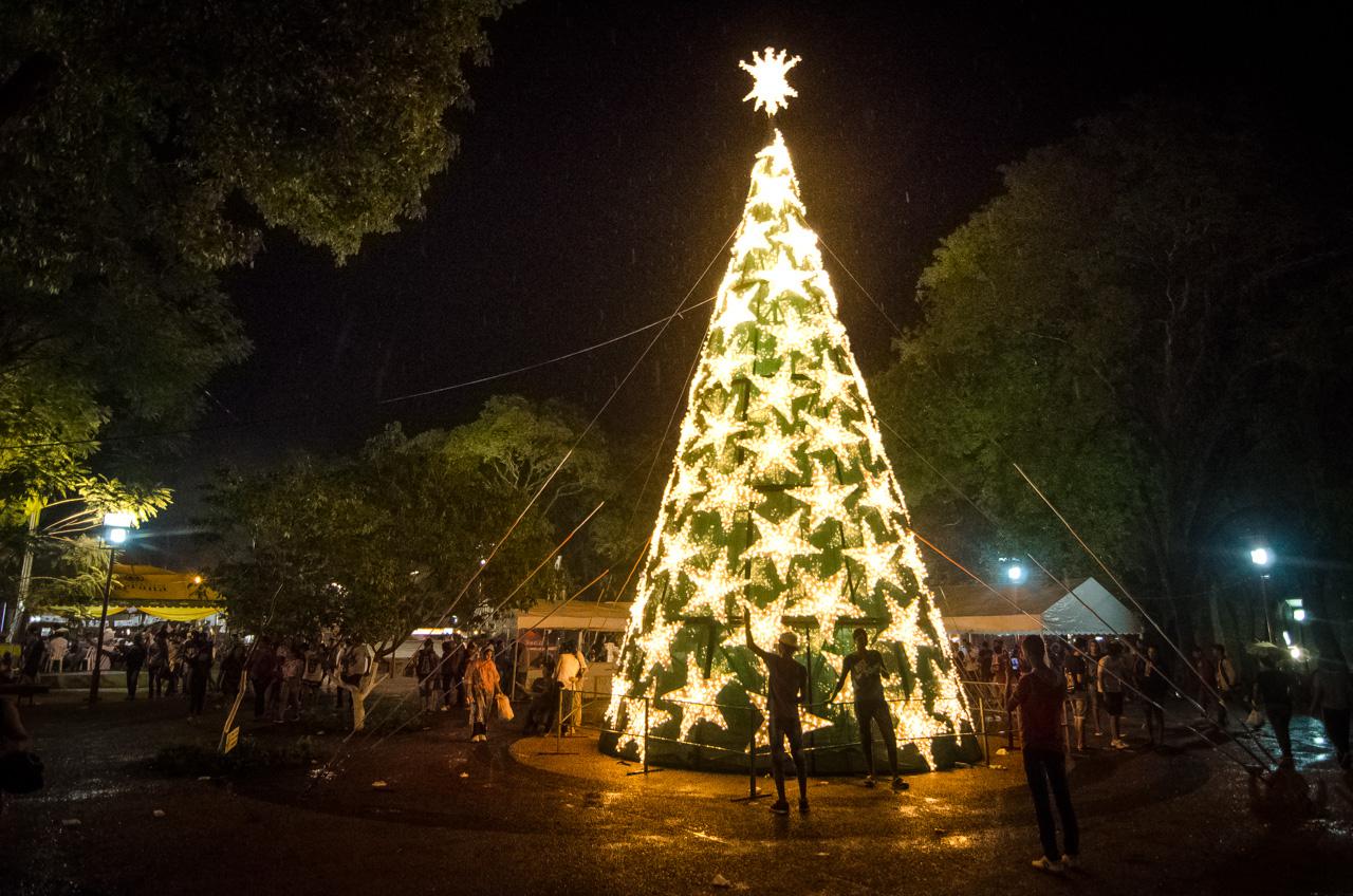 A pesar de la intensa lluvia, la gente se congregó en las plazas para sacarse fotos frente al árbol de navidad instalado por la Municipalidad de Caacupé. (Elton Núñez).