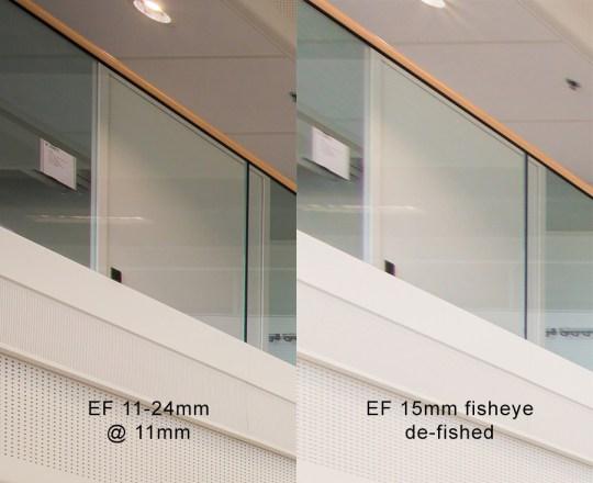 100% uitvergroting van de linkerbovenhoek van de voorbeeldfoto's. De kwaliteit van de 11mm is overduidelijk beter dan de bewerkte fisheye foto.