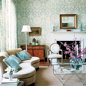 Modern wallpaper: Beautiful blue + white damask in modern-… | Flickr