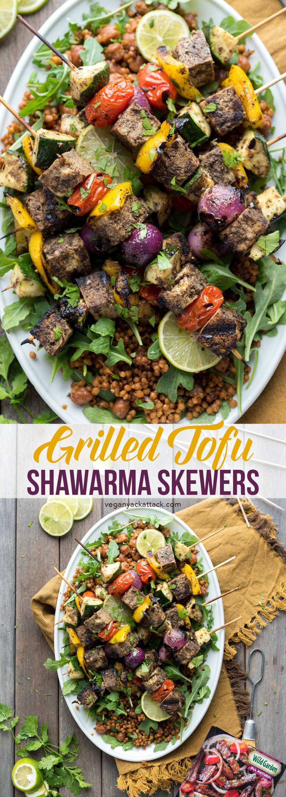 Grilled Tofu Shawarma Skewers! Perfect for Summer grilling, and made easily with Wild Garden's marinade. #vegan #veganyackattack #wildgardeneats