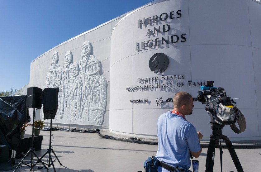 The Exterior of the Heroes and Legends and U.S. Astronaut Hall of Fame has a Sculpture of the Mercury 7 Astronauts Who Were NASA's First Astronauts.