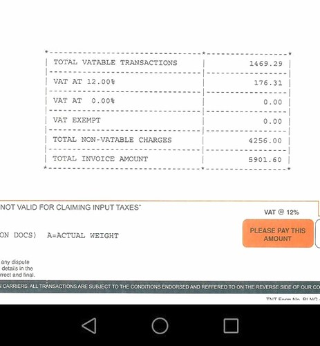 TNT  Express Shipping illegal bill