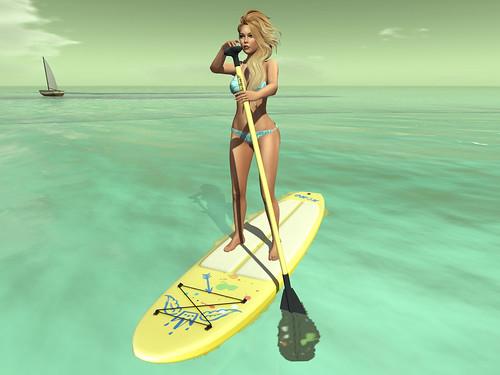 Paddling to shore