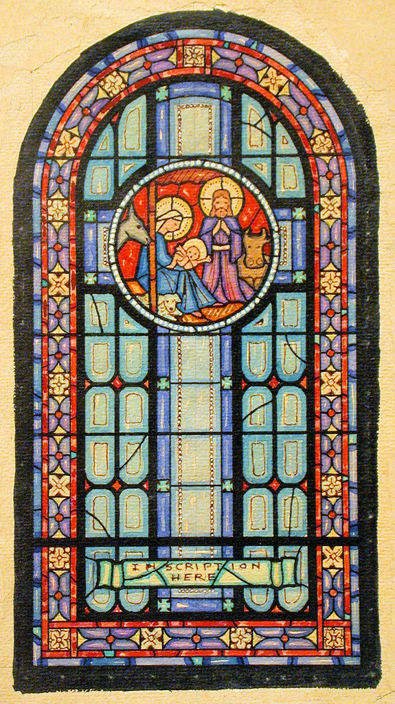 Design drawing for stained glass Nativity memorial window, Work on unmounted paper; stained but intact and smooth.