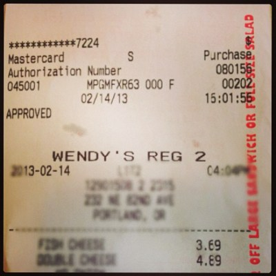 Went to check out Wendy's new menu item... Receipt is odd ...
