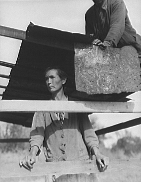 Dispossessed Arkansas farmers. These people are resettling themselves on the dump outside of Bakersfield, California. 1935