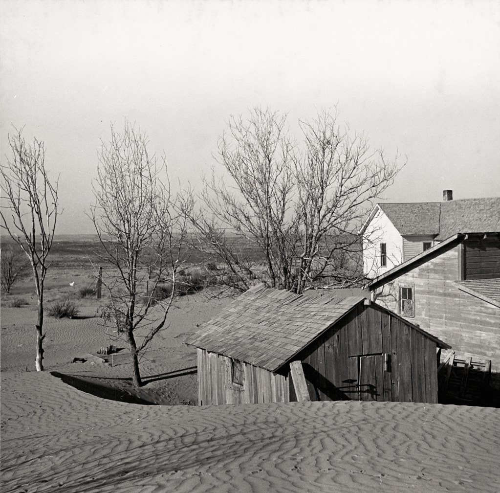 Liberal (vicinity), Kan. Soil blown by dust bowl winds piled up in large drifts on a farm; March 1936; photo by Arthur Rothstein; Library of Congress image.