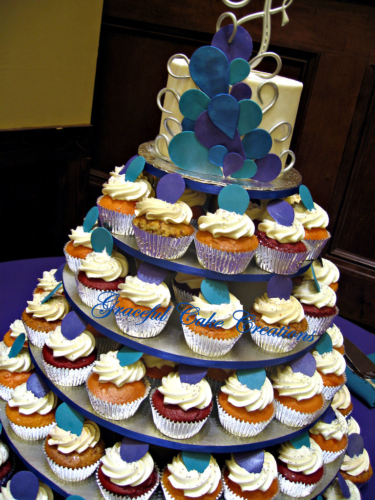 Popular Peacock Med Cupcake Wedding Cake By Cake Creations Peacock Med Cupcake Wedding Cake Grace Tari Flickr Cupcake Wedding Cake S Cupcake Wedding Cake Red wedding cake Cupcake Wedding Cake