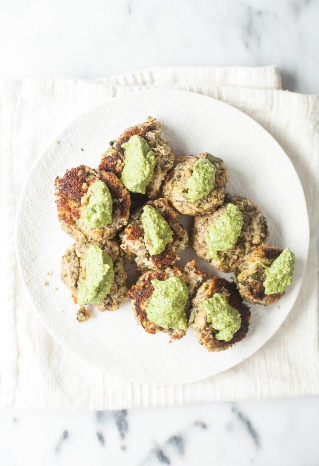 mint, pistachio and zucchini balls
