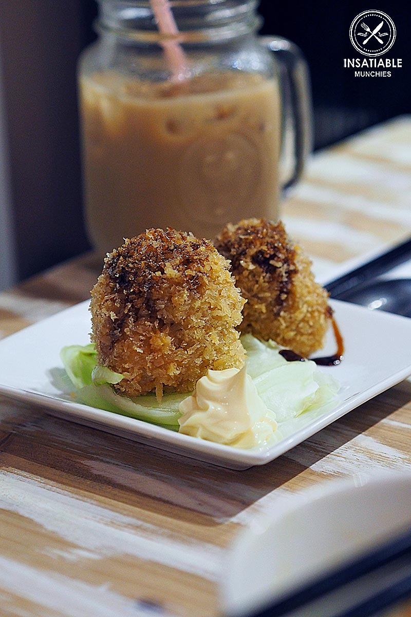 Deep fried chicken rice balls