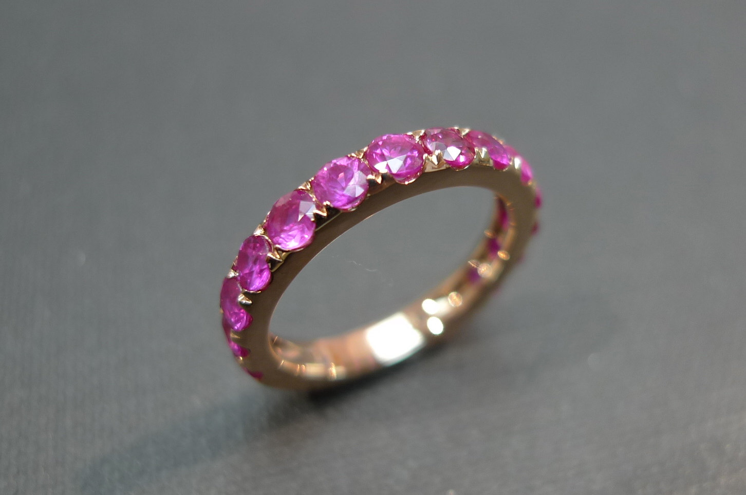 pink sapphire wedding band ring in 18k rose gold sapphire wedding band Pink Sapphire Wedding Band Ring in 18K Rose Gold