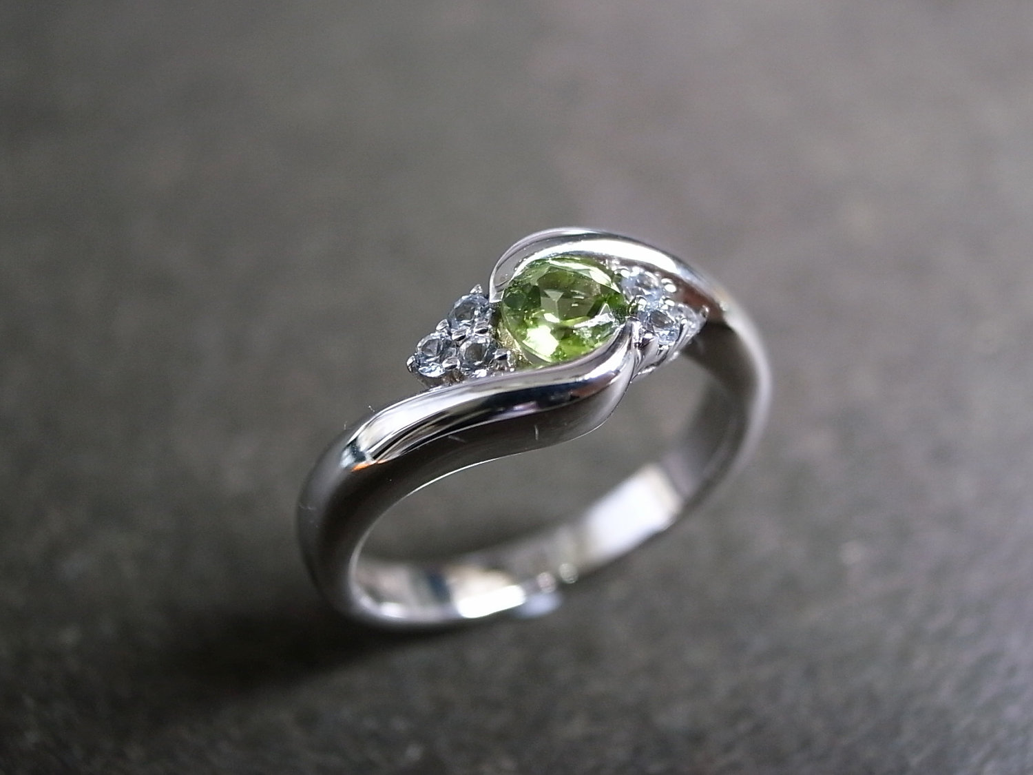 wedding ring with green sapphire in 14k white gold sapphire wedding rings Wedding Ring with Green Sapphire in 14K White Gold