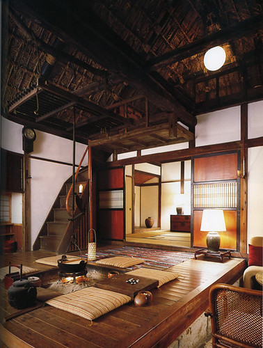 Interior of Japanese country house, with central fire pit and thatched ceiling - lo res | Flickr ...